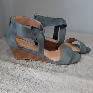 NWOT Suede Wedge Sandals in a Beautiful Bl…